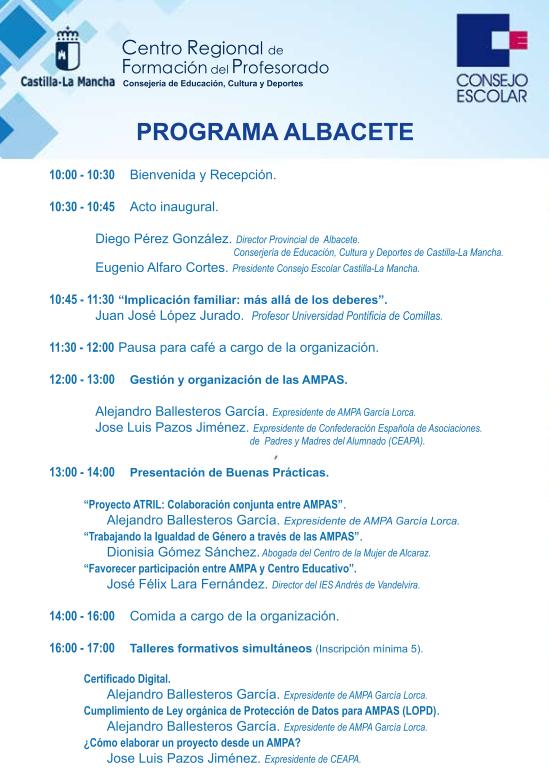 Programa Jornadas Formacion AMPAS - ALBACETE
